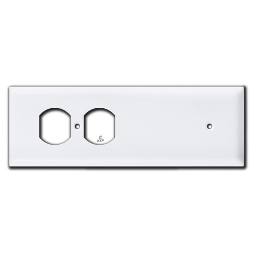 Long Tandem Duplex Receptacle + Blank Wall Plate - White