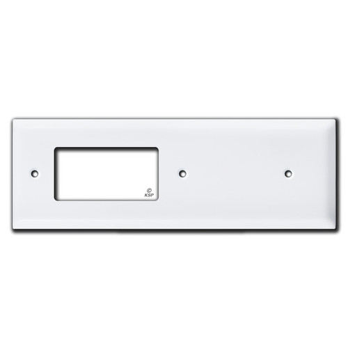 Sideways Decor Outlet + Blank Long Cover Switch Plate - White