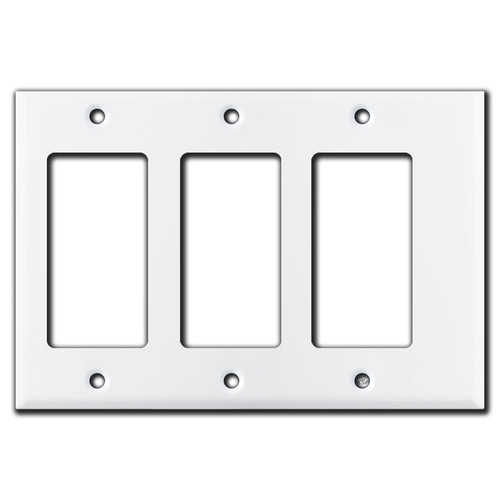 Narrow 3 Decora Rocker GFCI Wall Switch Plate - White