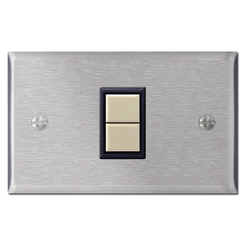 1 GE Low Voltage Wall Switch & Cover Set - Stainless Steel