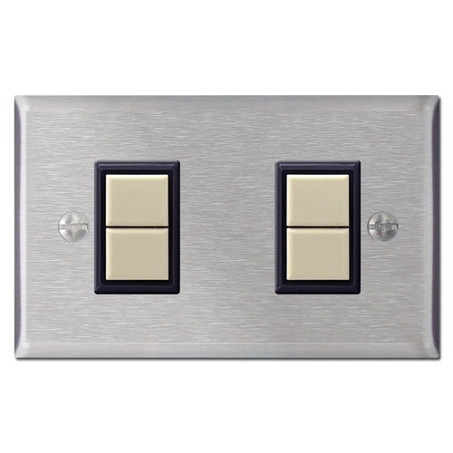 2 GE Device Low Voltage Switch Plate Cover Set - Stainless Steel