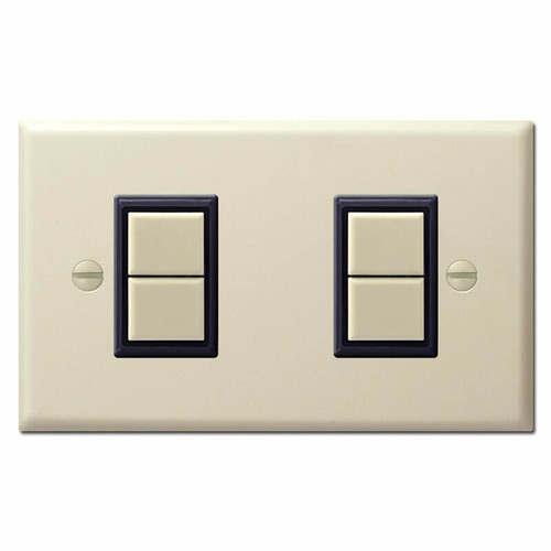 Stacked 2 Switch 4 Button GE Low Voltage Switch Plate Cover - Ivory