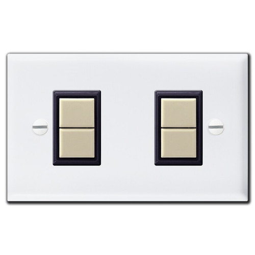 White 2 Switch GE Low Voltage Lighting Wall Plate & Ivory Switches