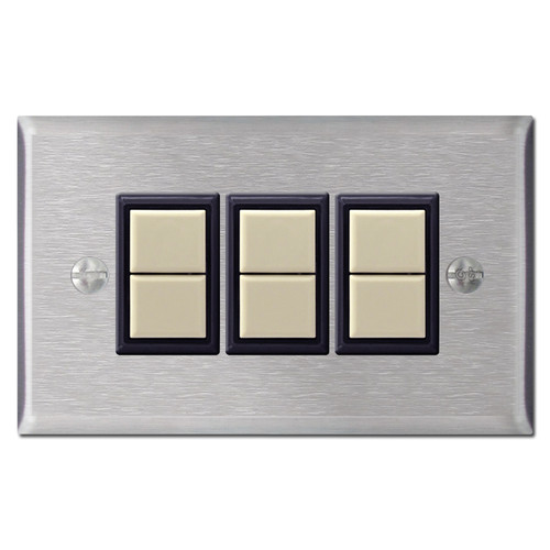 3 GE Low Voltage Lighting Switches & Wall Plate Set - Stainless Steel