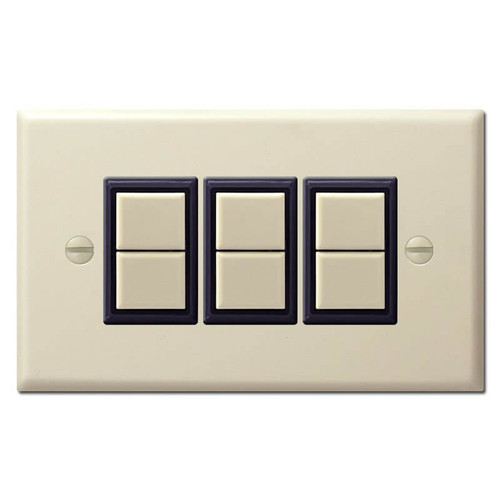GE Low Voltage Switch Plate Cover for Three 2-Button Switches - Ivory