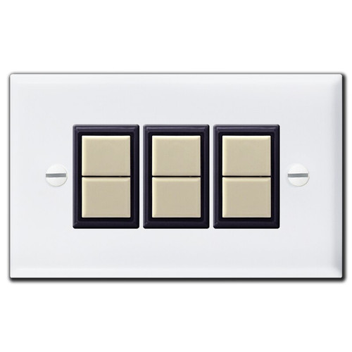 3 GE Low Voltage Light Switch Covers & Double Button Switches - White