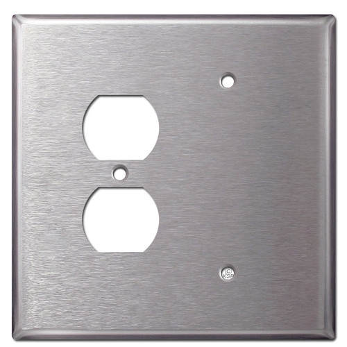 Oversized Blank Duplex Receptacle Cover - Stainless Steel