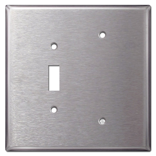 Jumbo 1 Toggle 1 Blank Switch Plate - Stainless Steel