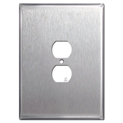 "Jumbo Oversized 7.5"" Duplex Receptacle Cover Plate - Stainless Steel"