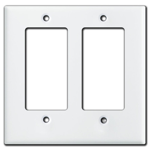 Half Short 2 Rocker Decora Outlet Cover Plate - White