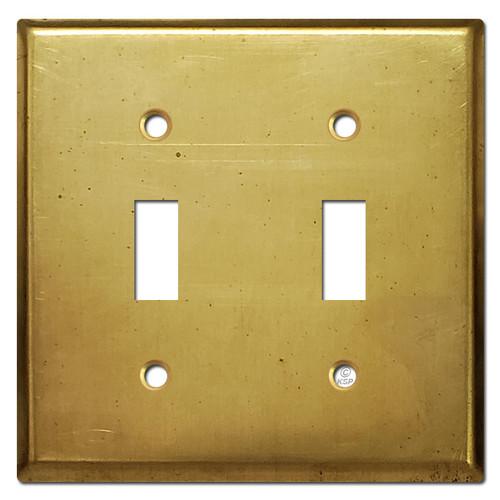 2 Toggle Wall Switch Plate - Raw Satin Brass