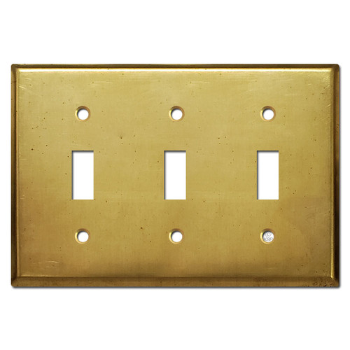 3 Toggle Light Switch Cover - Raw Satin Brass