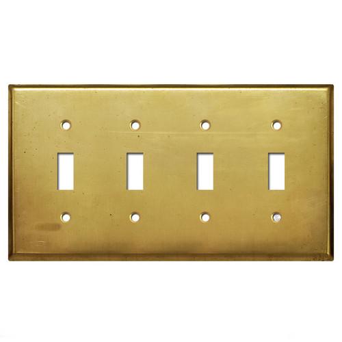4 Toggle Switch Plate - Raw Satin Brass