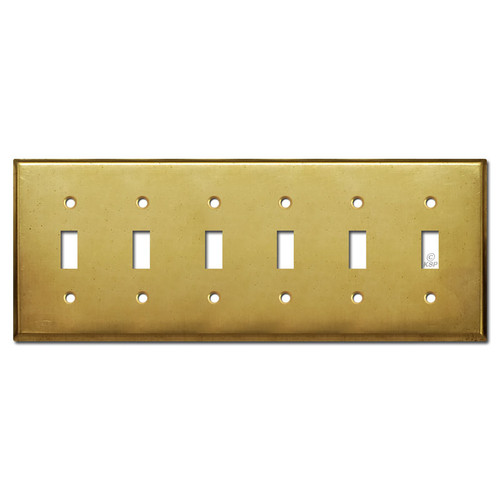 6 Switch Toggle Light Plate Covers - Raw Satin Brass
