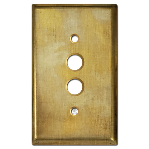 1 Push-Button Light Switch Plate Cover - Raw Satin Brass