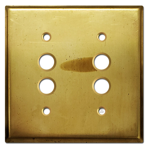 Double Pushbutton Switch Wall Plates - Raw Satin Brass