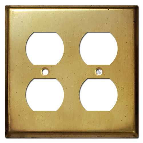 Double Duplex Receptacle Cover Plates - Raw Satin Brass