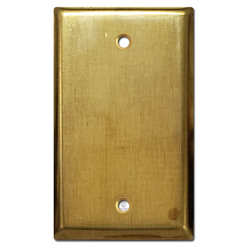 1 Blank Electrical Wall Plate Cover - Raw Satin Brass