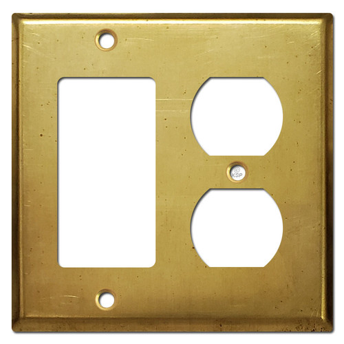 Duplex Outlet & Rocker GFCI Receptacle Cover - Raw Satin Brass