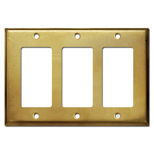 3 Rocker Decora GFI Outlet Switch Cover - Raw Satin Brass
