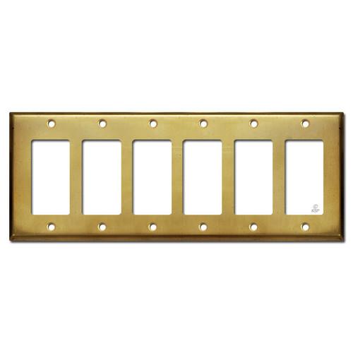 6 Rocker Light Switch Decora Outlet Plate - Raw Satin Brass