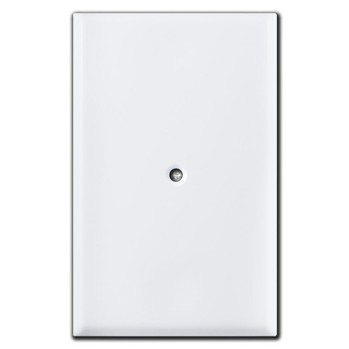 Special Oversized Blank Duplex Outlet Cover Center Screw - White