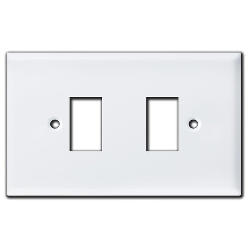 Oversized New Style 2 GE Low Voltage Switch Plates - White