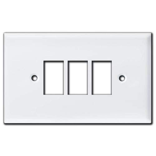 Oversized New Style 3 GE Low Voltage Switch Covers - White