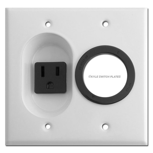Recessed 15A Outlet & Cable Feed Through Wall Plate - White