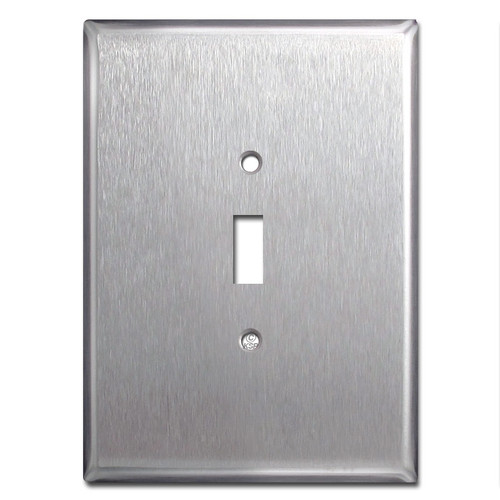 "Jumbo 6.38"" Oversized 1 Toggle Switch Plate - Satin Stainless Steel"