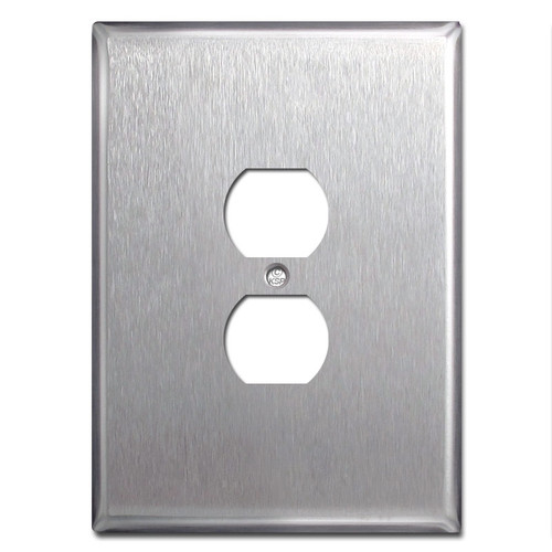 "Big 6.38"" Jumbo Outlet Cover Wall Plate - Satin Stainless Steel"