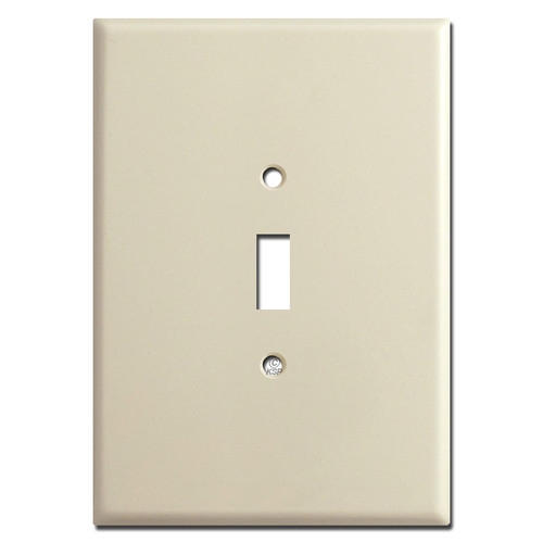 "Oversized 6.38"" Jumbo 1 Toggle Light Switch Plate - Ivory"
