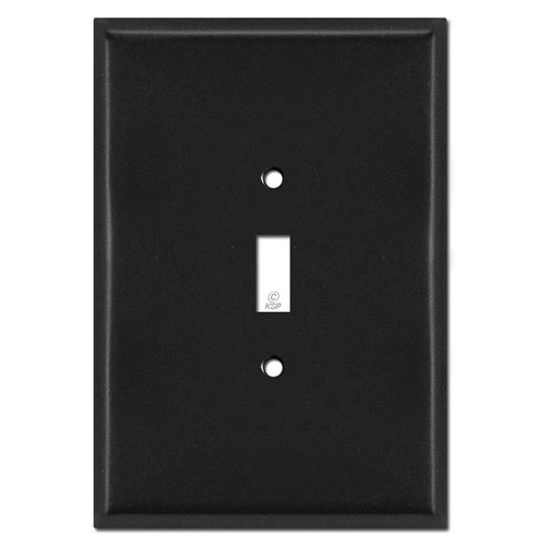 "Extra Big 6.38"" Oversized 1 Toggle Switch Wall Plate - Black"