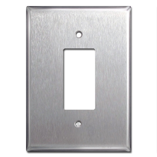 "Really Big 6.38"" Jumbo GFCI Rocker Switchplate - Satin Stainless Steel"