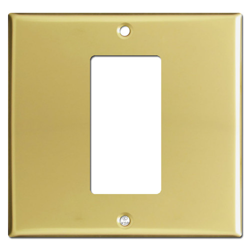 Double Gang Centered Rocker Switchplate - Polished Brass