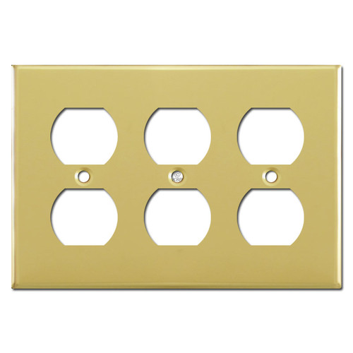 3 Gang Electrical Outlet Plug Covers - Polished Brass