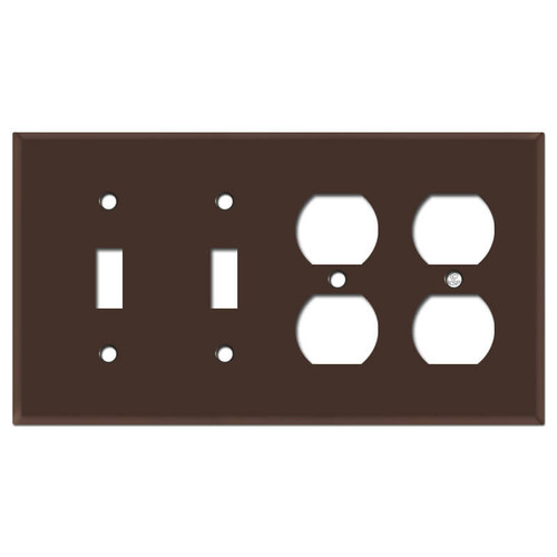 Four Gang 2 Outlet 2 Toggle Light Switchplate - Brown