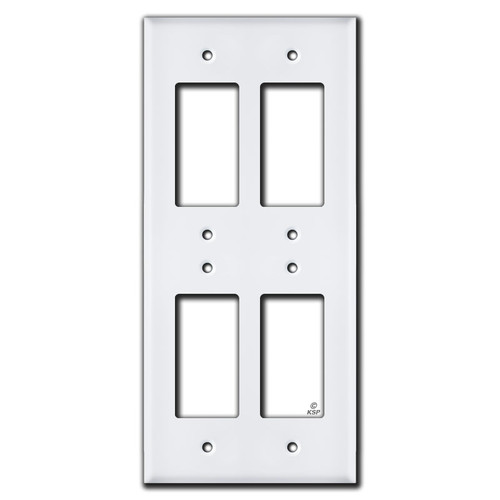 Vertical Stacked 4 Rocker GFCI Electrical Cover - White