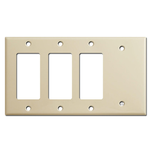 1 Blank + 3 Rocker GFCI Outlet Cover Switchplate - Ivory