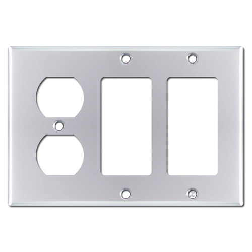 2 Decora 1 Duplex Outlet Cover Wall Plate - Polished Chrome