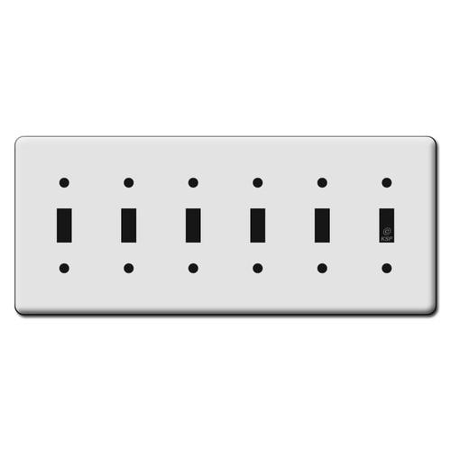 Long Six Gang Toggle Light Switch Plates - White