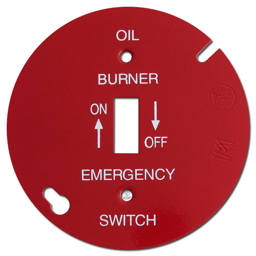"""Red 4"""" Round Toggle Oil Burner Control Switch Cover #012"""