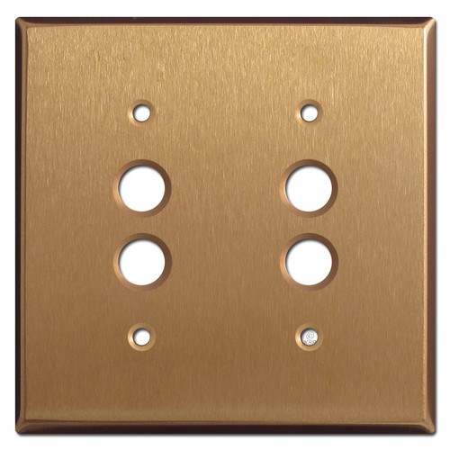 2 Push-Button Switchplates - Satin Bronze