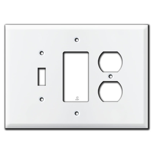 Oversized 3 Gang Toggle Rocker Outlet Cover Wall Switchplates