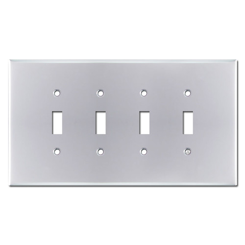Oversized 4 Switch Toggle Wallplate - Polished Chrome
