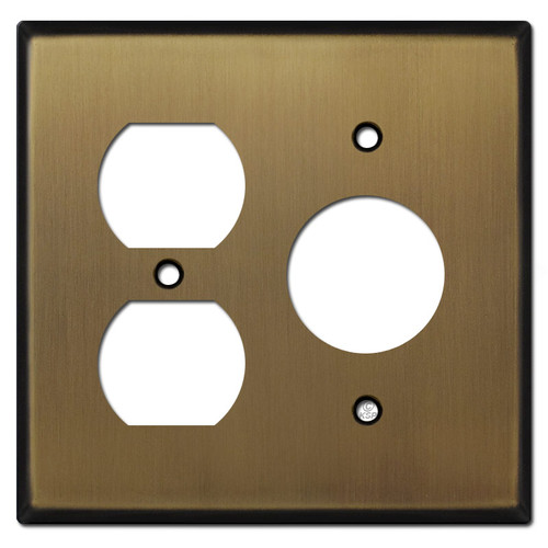3 Power Outlet Wall Plates - Antique Brass