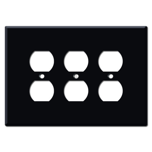 Jumbo Triple Duplex Outlet Wall Plate - Black