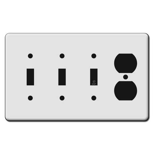 Tall 3 Toggle 1 Outlet Switch Plate Covers