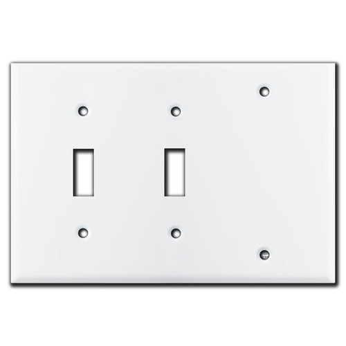 3-Gang 2-Toggle 1-Blank Wallplate - White