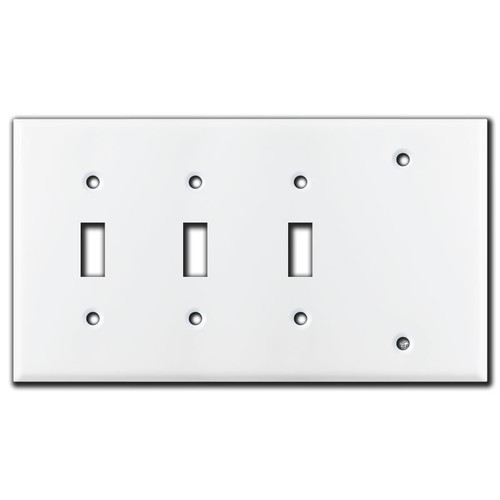 4-Gang 3-Toggle 1-Blank Switch Plates - White